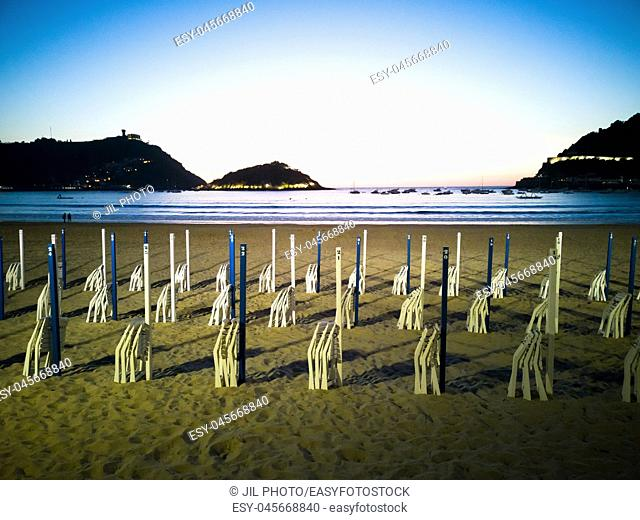 La Concha beach at nightfall. Donostia. San Sebastian. Basque Country. Spain