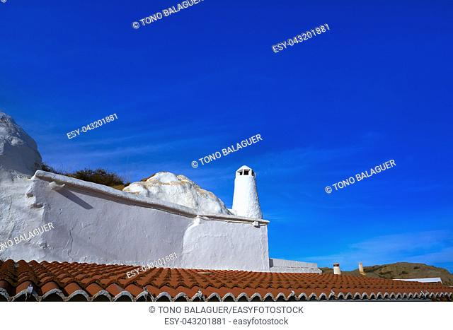 Guadix cave houses chimneys in Granada Spain at Andalusia