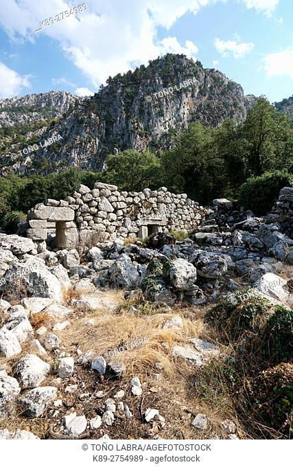 Adrian's Temple of Termessos. The unexcavated Pisidian city. Ancient Greece. Asia Minor. Turkey