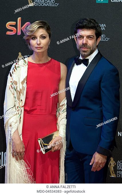 Pierfrancesco Favino with Anna Falzetti attend the red carpet of 62° David di Donatello Award at De Paolis Studios. Rome (Italy), march 27, 2017