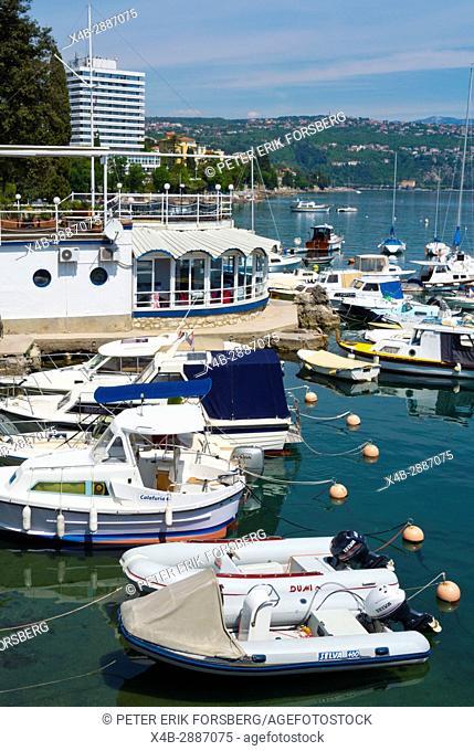 Marina, port, in front of the yacht club, Opatija, Kvarner Bay, Croatia