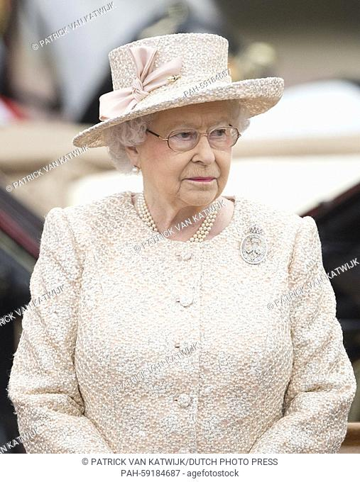 Britain's Queen Elizabeth II attends the traditional Trooping the Colour ceremony which marks the monarch's official birthday in central London, 13 June 2015