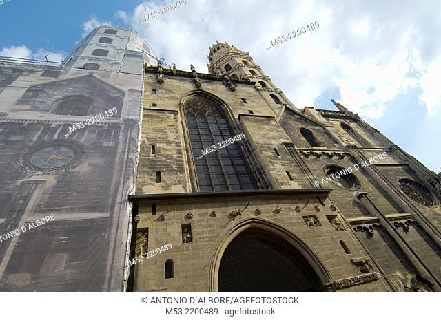 The facade of St. Stephen's Cathedral's under partial renovation. Vienna. Austria