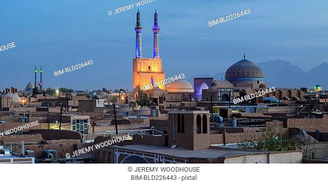 Cityscape at night, Yazd, Iran