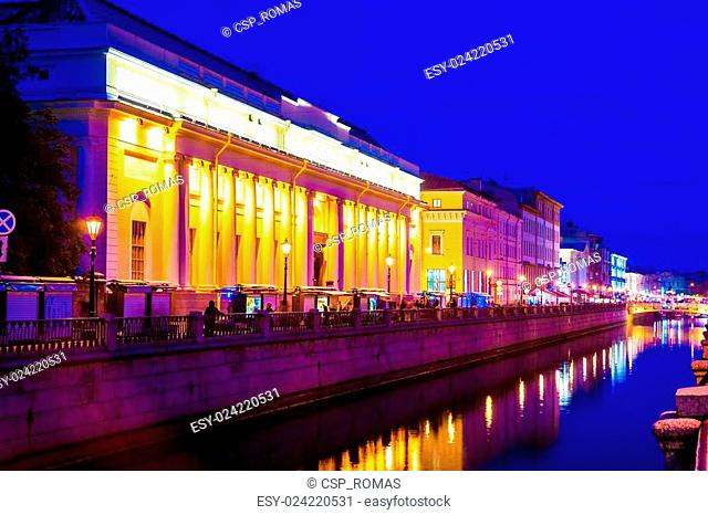 Beautiful night view of Griboyedov Canal near Church on spilled