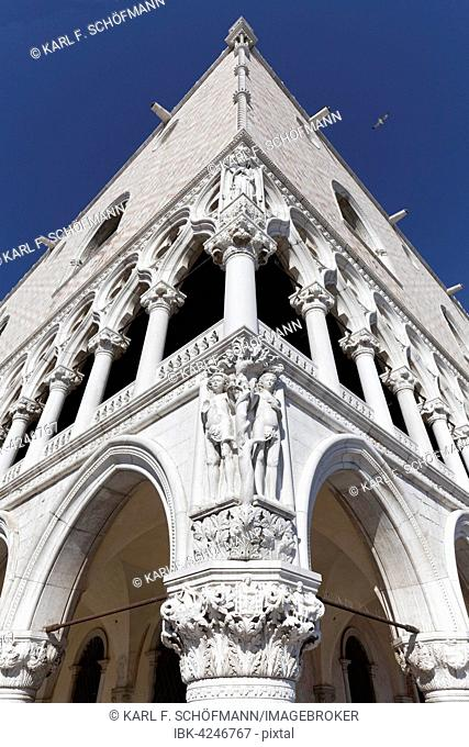 Ducal Palace or Palazzo Ducale, with Adam and Eve in the cornerstone, St. Mark's Square, Venice, Veneto, Italy
