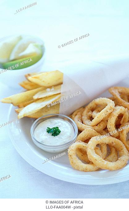 Deep-fried Calamari & Chips  Studio Shot
