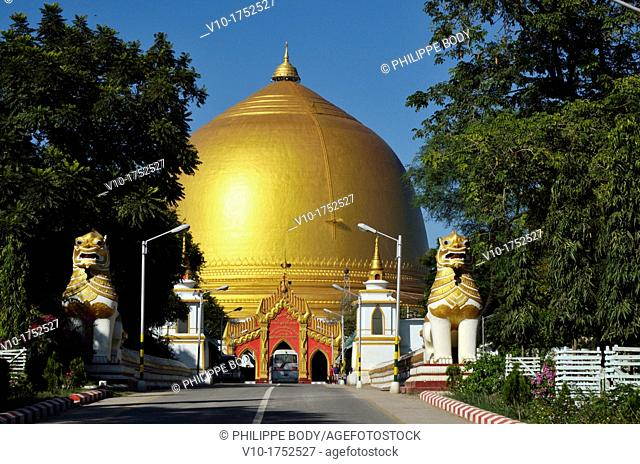 Burma, Myanmar, Mandalay, old city of Sagaing, the stupa of paya Kaunghmudaw, recently covered with gold platted, dated 17 th  century