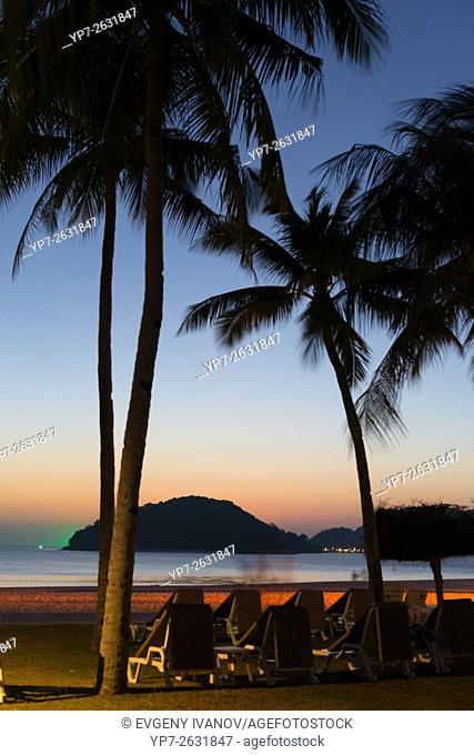 Colorful sunset on Cenang beach, Langkawi, Malaysia