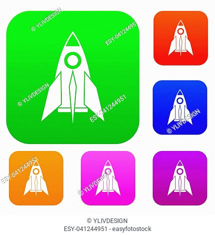 Rocket set icon in different colors isolated illustration. Premium collection