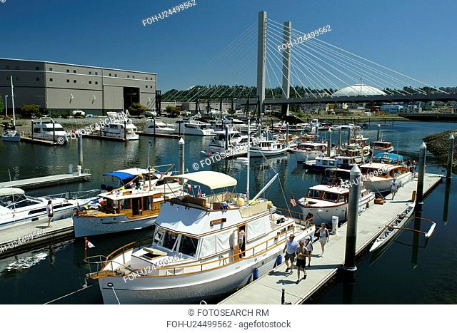 Tacoma, WA, Washington, Puget Sound, SR 509 Cable-stayed Bridge, Thea Foss Waterway, marina