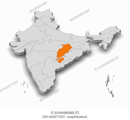 Map of India as a gray piece, Chhattisgarh is highlighted in orange