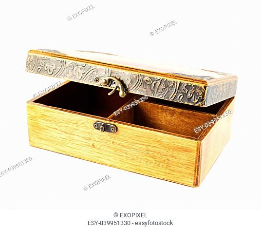 Old-fashioned half-opened wooden old casket isolated over white background