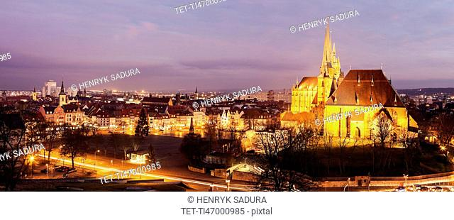 Illuminated cityscape with Erfurt Cathedral