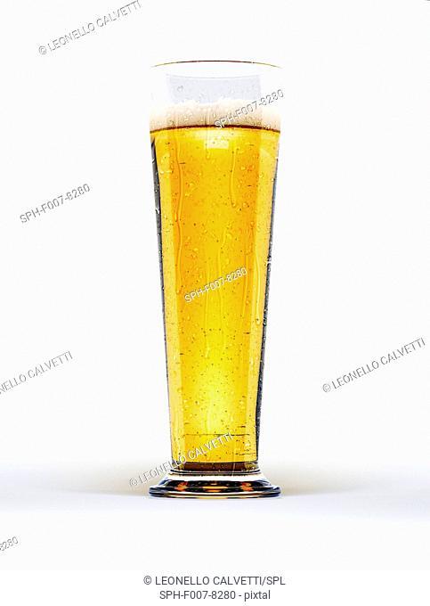 Glass of beer, computer artwork