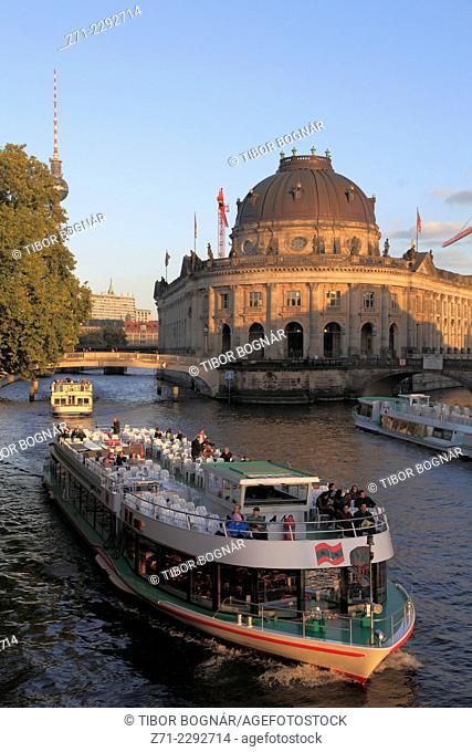 Germany, Berlin, Bode Museum, Spree River, sightseeing boat