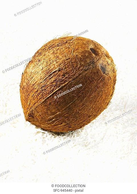 A coconut on grated coconut