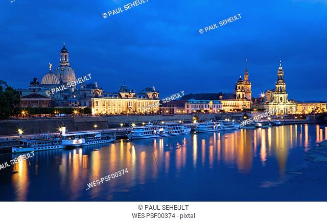 Germany, Saxony, Dresden skyline at night