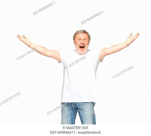 Closeup of senior man's body in empty white t-shirt isolated on white background. Clothing, mock up for disign concept with copy space