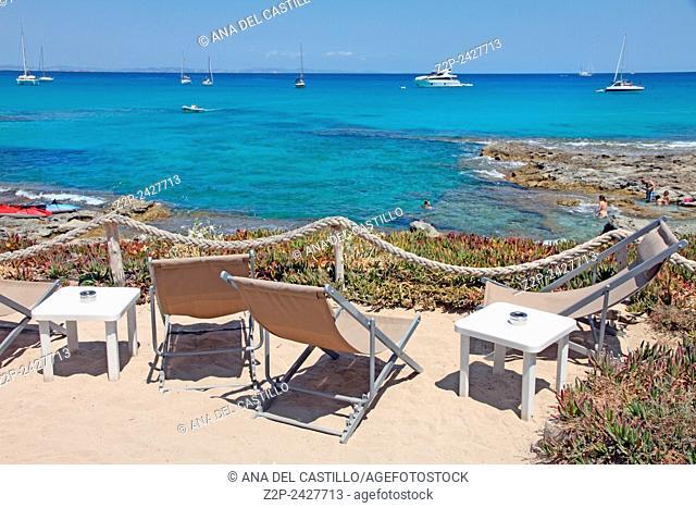 Es Calo de San Agusti Turquoise beach in Formentera Balearic Islands Spain