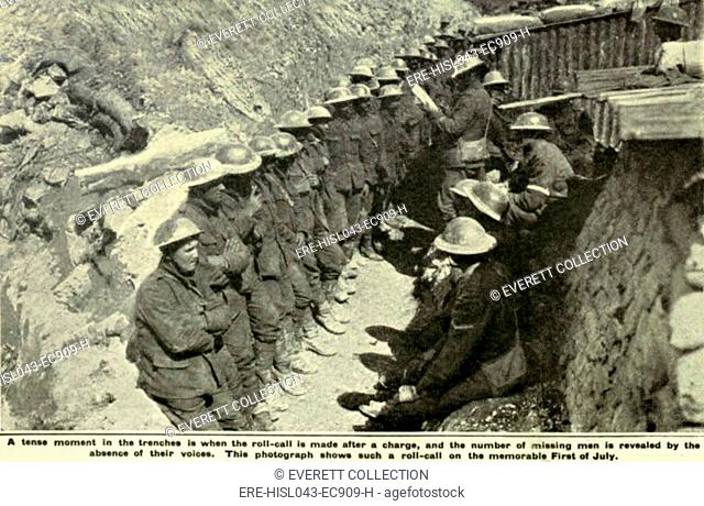 World War 1. Somme Offensive. A British officer takes roll call after his unit has returned from an assault on the first day of the Battle of the Somme, July 1