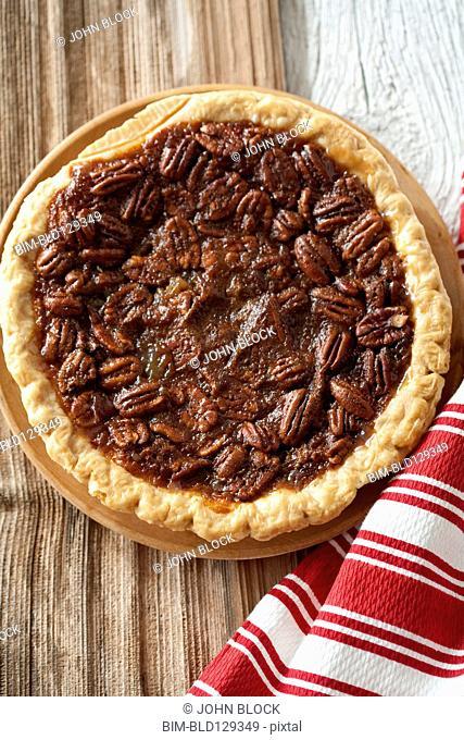 Pecan pie on tablecloth