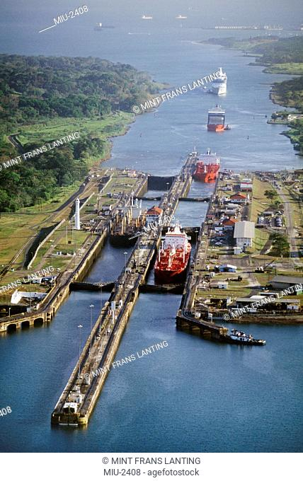 Ships passing through locks, Panama Canal, Panama