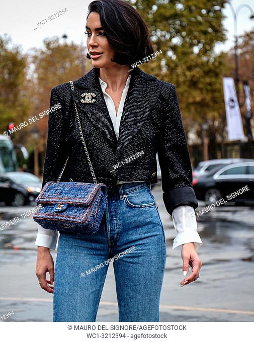 PARIS, France- October 2 2018: Brittany Xavier on the street during the Paris Fashion Week
