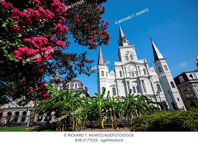 The Cathedral-Basilica of St. Louis King of France is the oldest Catholic cathedral in continual use in the United States, in Jackson Square