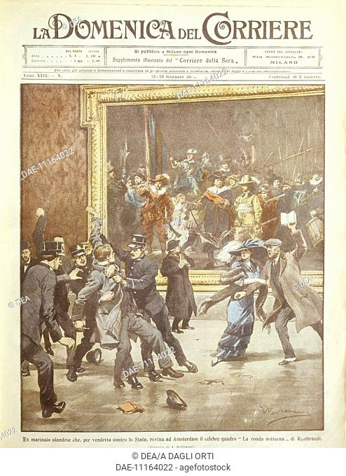 History, 20th century - A madman attacks Rembrandt's Night Watch. Cover illustration from La Domenica del Corriere, Sunday supplement to Italian daily newspaper...
