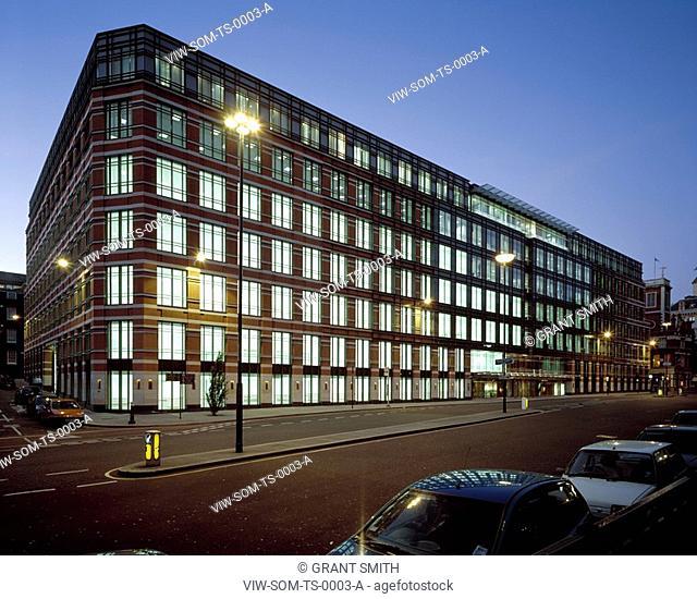 TIMES SQUARE, 160 VICTORIA STREET, LONDON, EC4 QUEEN VICTORIA STREET, UK, SKIDMORE OWINGS & MERRILL INC, EXTERIOR, QUEEN VICTORIA ST ELEVATION NIGHT
