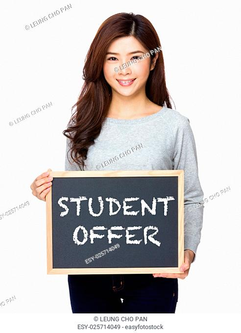School girl hold with chalkboard and showing student offer