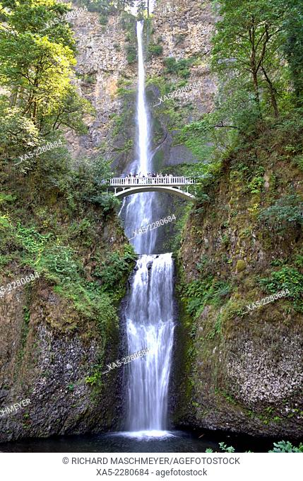 Multnomath Falls (located east of Troutdale), Oregon, USA