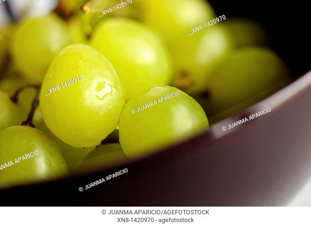 Photographs near a cluster of grapes in a bowl