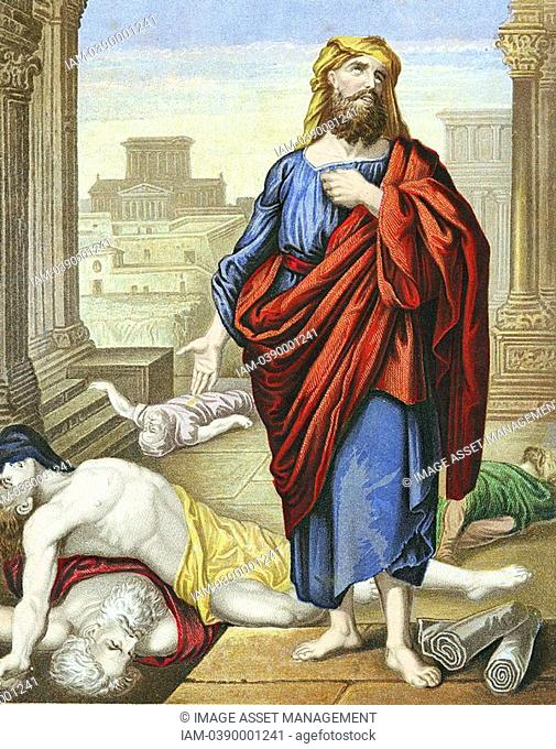 Jeremiah lamenting over the misery of Jerusalem  'Bible': Lamentations 2  7th century BC Old Testament prophet  Warned of fall of Jerusalem to Nebuchadrezzar...