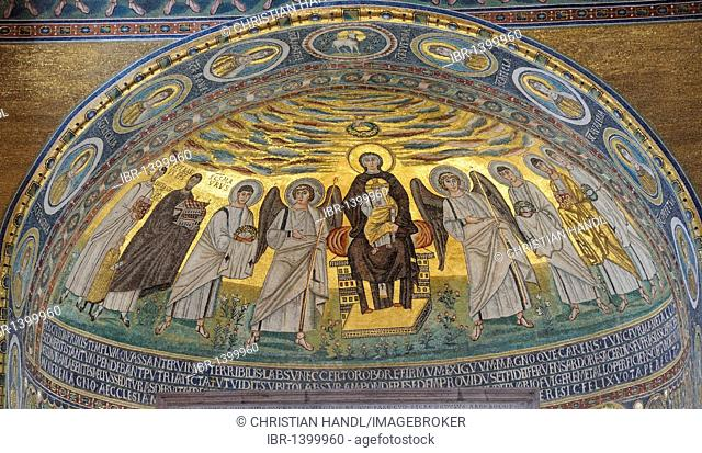 Apse mosaic from the 6th Century, depicting Madonna and Child, Euphrasian Basilica in Porec, Croatia, Europe