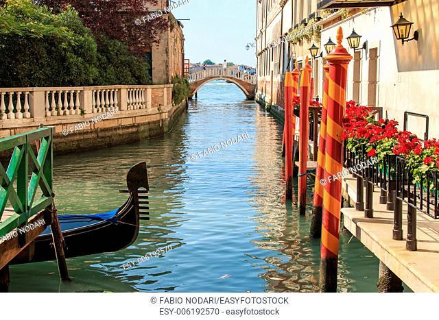 Gondola on a small canal near Saint Mark Square