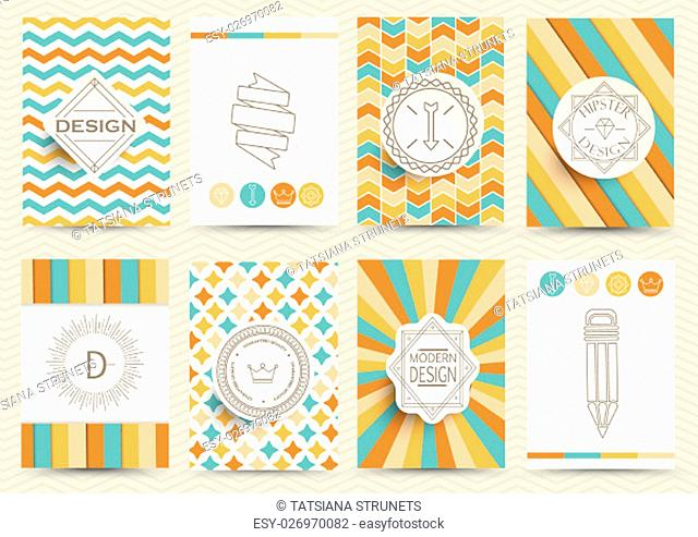 Set of Retro Insignias, Logotypes, brochures in vintage style. Design templates. Set of Business Signs and Logos, Identity Elements and Labels