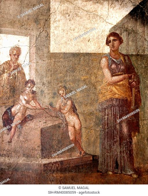This picture shows Medea on the right, standing in front of the house of Jason in Corinth, as she prepares to draw her sword to dispatch the two children she...