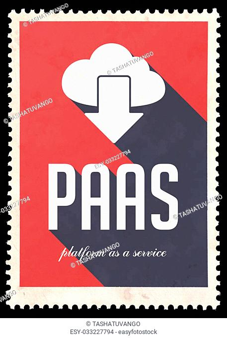 PAAS - Platform as a Service - on red background. Vintage Concept in Flat Design with Long Shadows