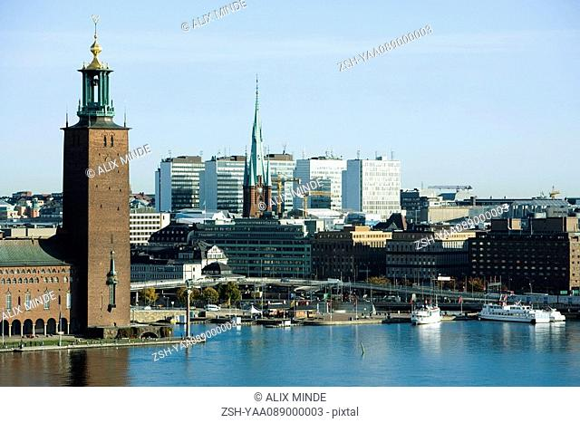Sweden, Stockholm, Kungsholmen Island, view of waterfront and town hall
