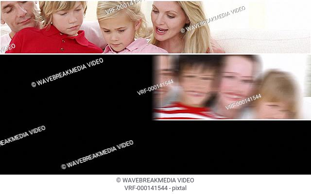 Montage of three families having fun together