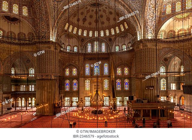 Sultan Ahmed Mosque or Blue Mosque, interior, Istanbul, Turkey