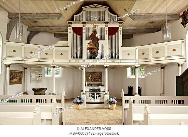 Germany, Schleswig-Holstein, Arnis town, Schifferkirche, organ
