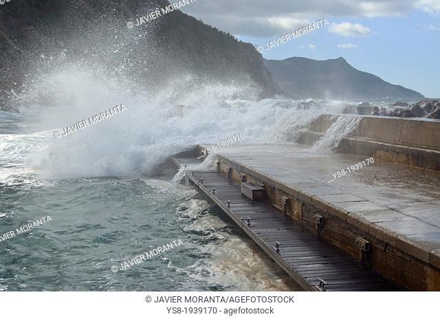 Waves breaking on the port of Valldemossa, Spain, Mediterranean Sea, Balearic Islands, Mallorca