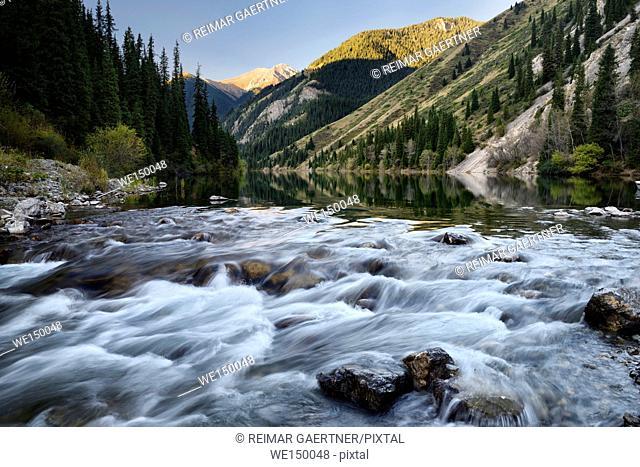 Rapids of the Lower Kolsai Lake at sunrise in Kungey Alatau mountains Kazakhstan