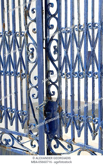 view to blue steel lattice, Oia, Santorini, Greece