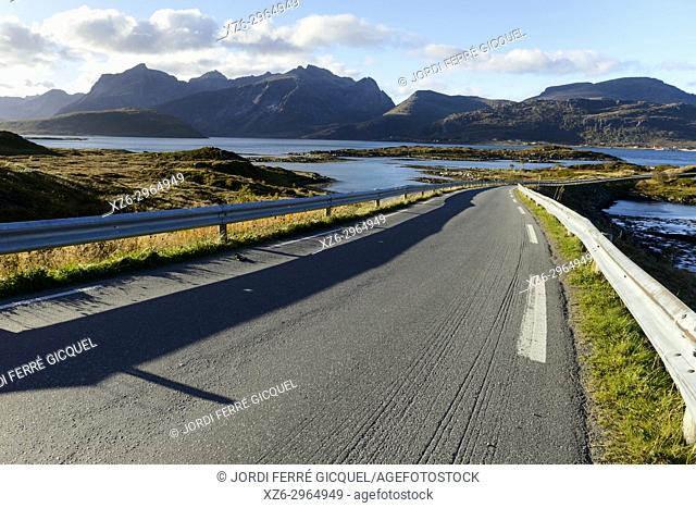 Bridge between the islands of Flakstad and Moskenes, Lofoten archipelago, county of Nordland, Norway, Europe