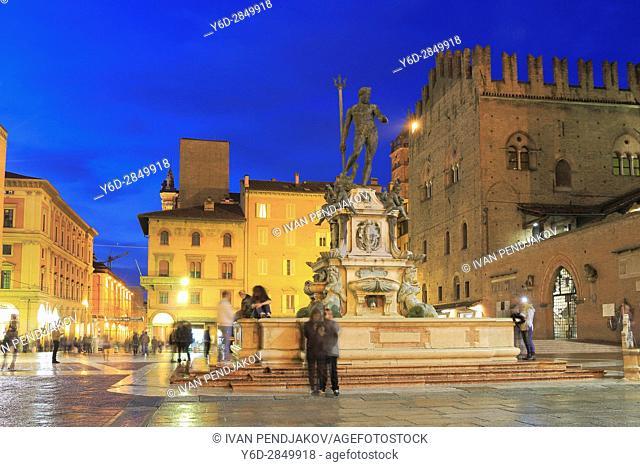 Fountain of Neptune at Dusk, Bologna, Italy