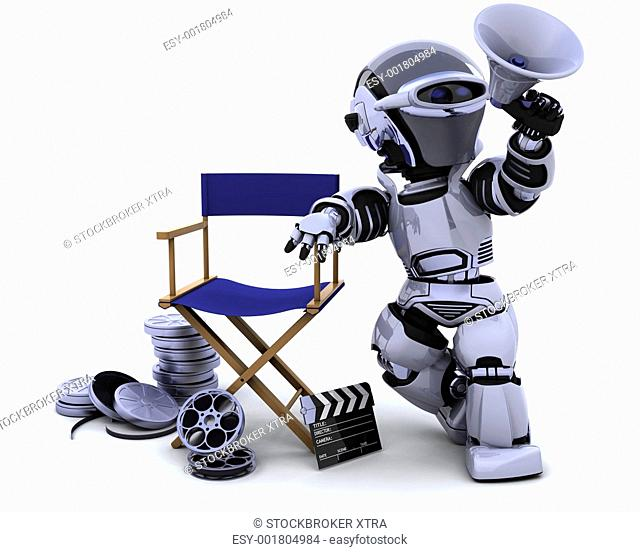 3D render of a robot with megaphone and directors chair